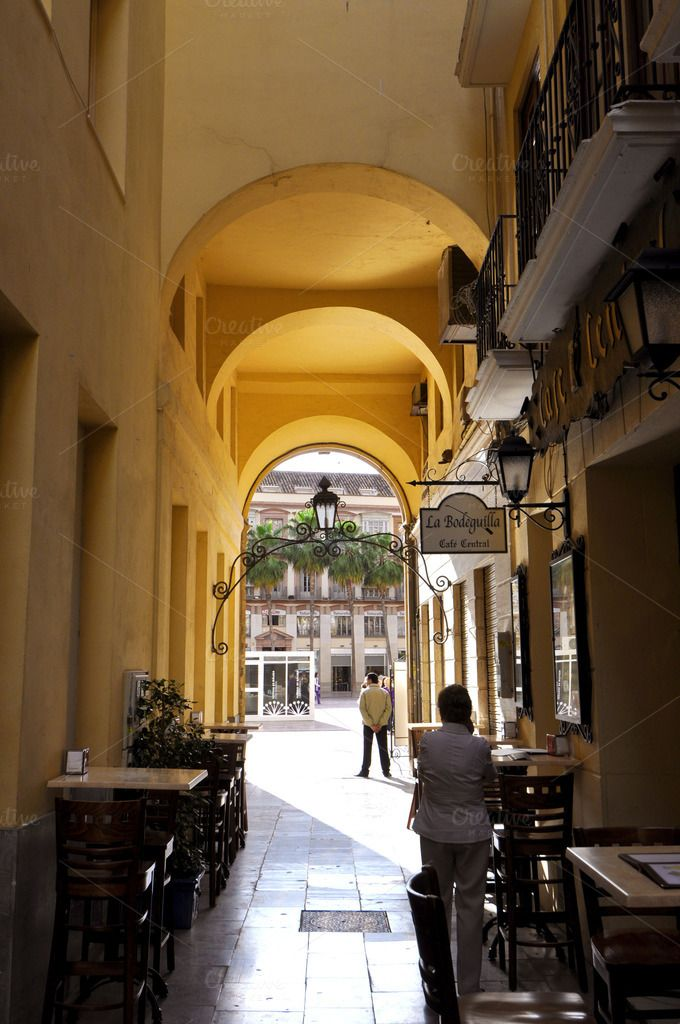 EDITORIAL: Malaga street view, Spain by Eduardo Huelin on Creative Market