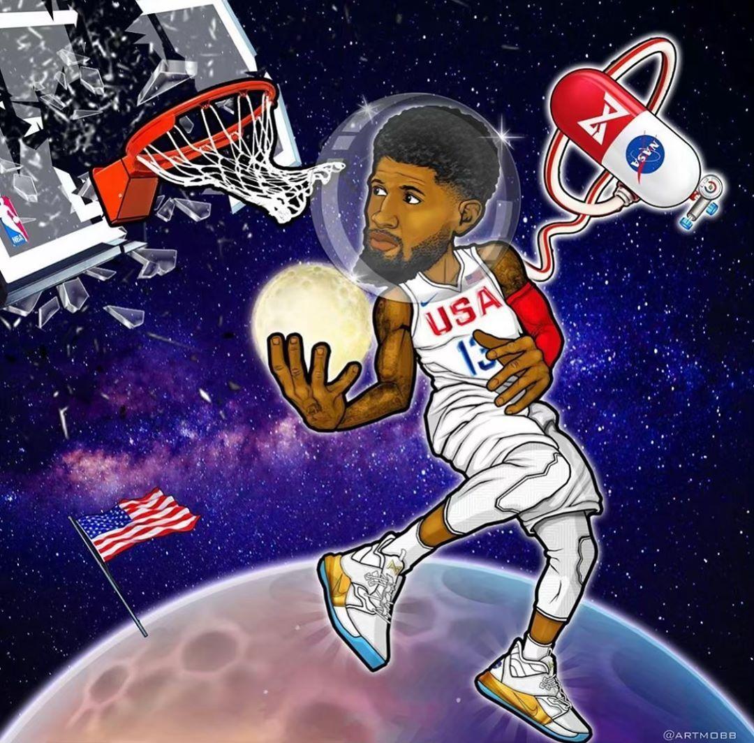 Paul George On Instagram Apollo Missions Artmobb Basketball Art Nba Basketball Art Nba Art