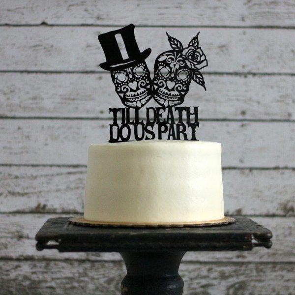 Lovely Sugar Skull Wedding Cake Topper
