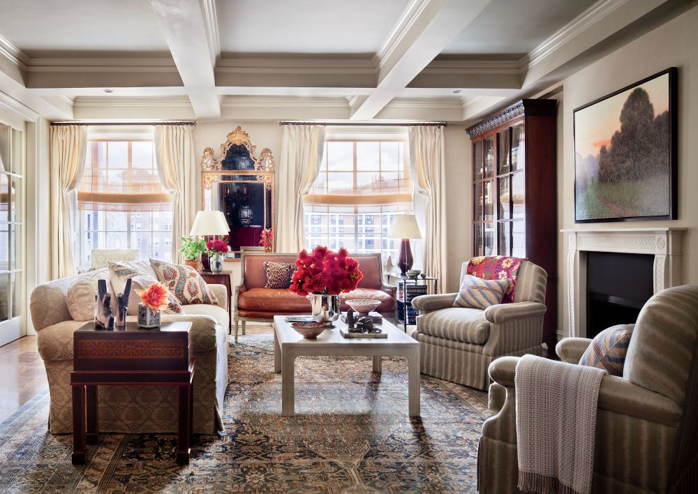Traditional Living Room by Michael S. Smith Inc. in New York, New York