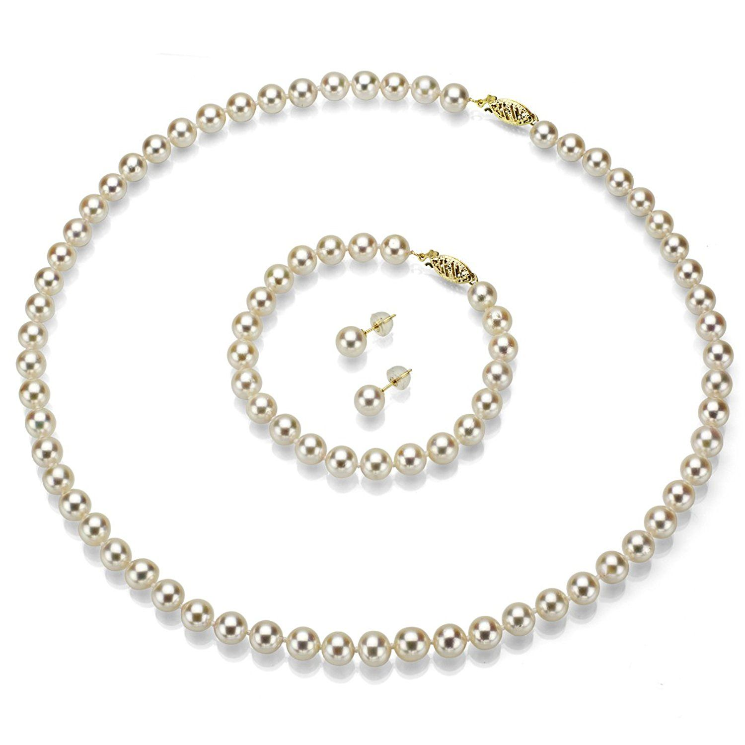 Cultured japanese akoya pearl necklace white pearl bracelet and k