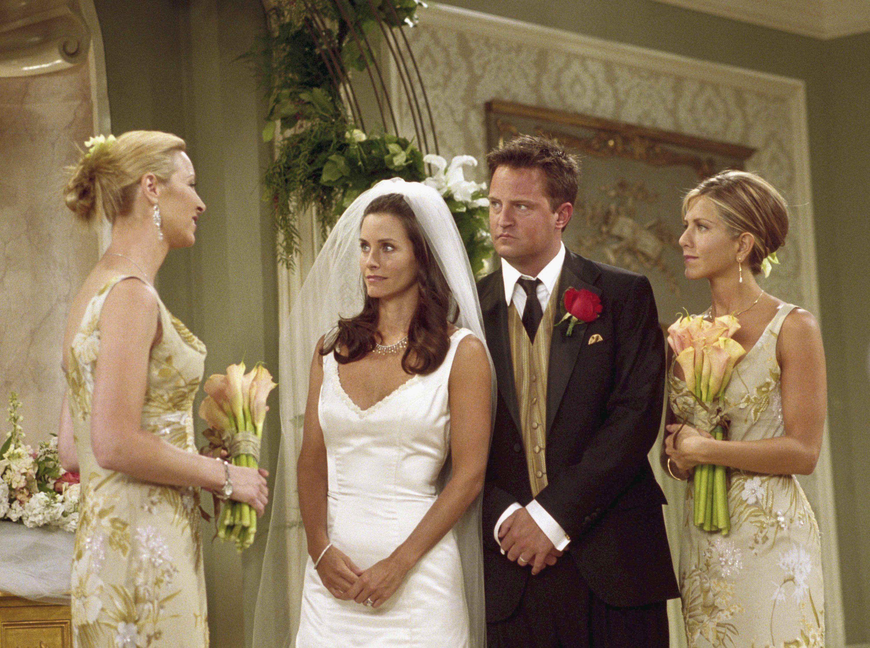 Friends Costume Designer Talks Weddings 5 Secrets We Learned Tv Weddings Monica And Chandler Bridesmaid [ 2233 x 3000 Pixel ]