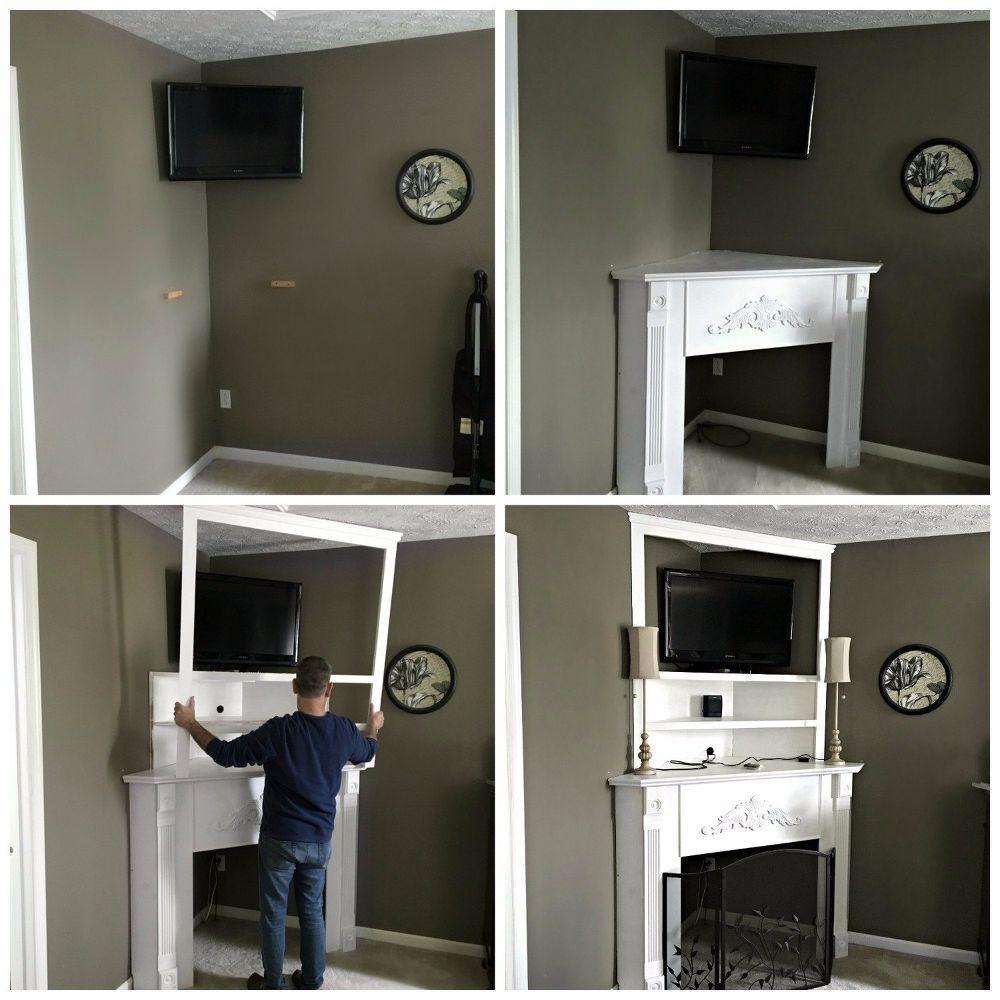 DIY Fireplace Mantel: Creating Usable Corner Space #cornerspace