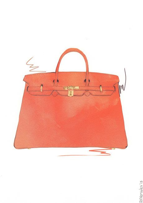 Orange Hermes Birkin bag illustration by RKHercules by RKHercules ... ec289a79f6119