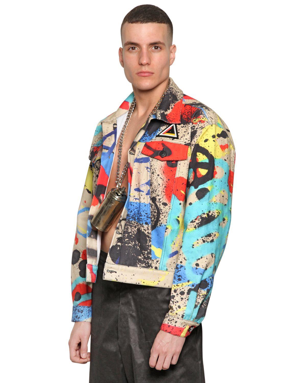 Men's Graffiti Print Bomber Jacket Denim fashion, Denim