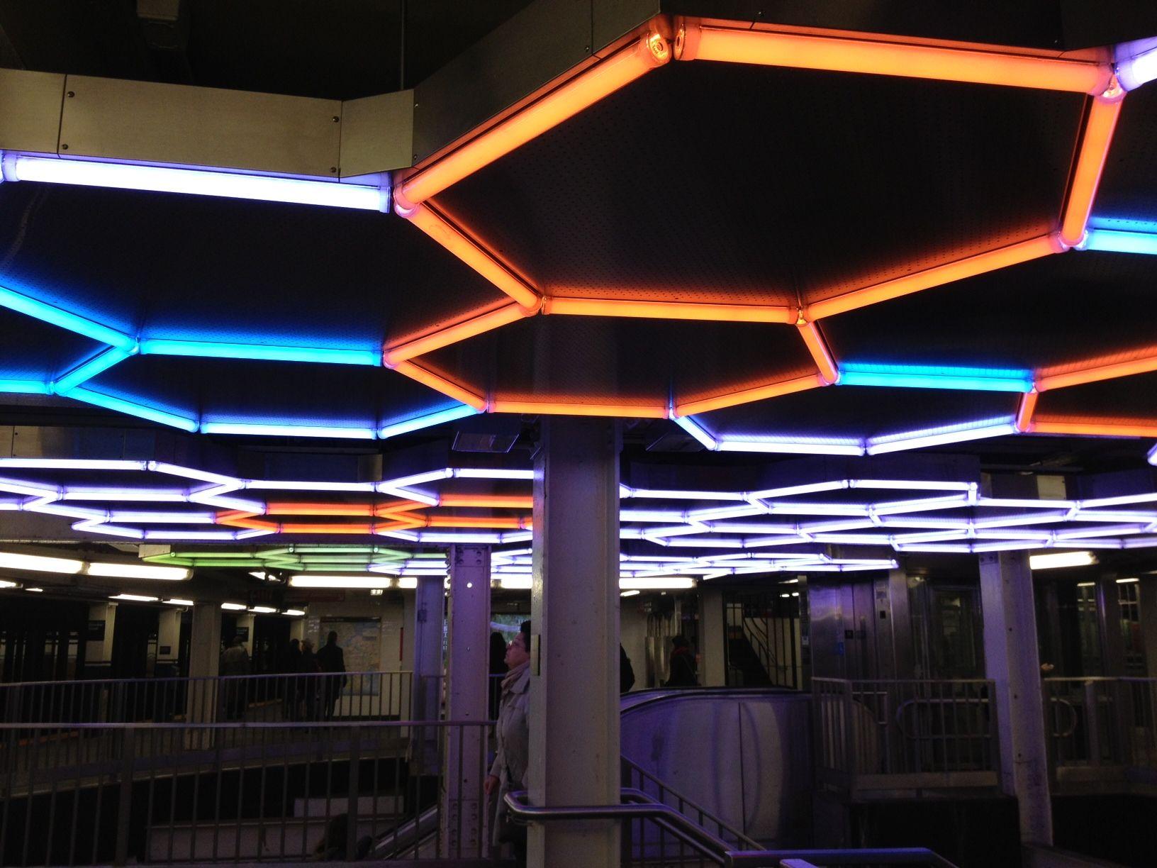 Leo Villareal, Hive (Bleeker Street), LED tubes, custom software, electrical hardware, aluminum, stainless steel, 2012.