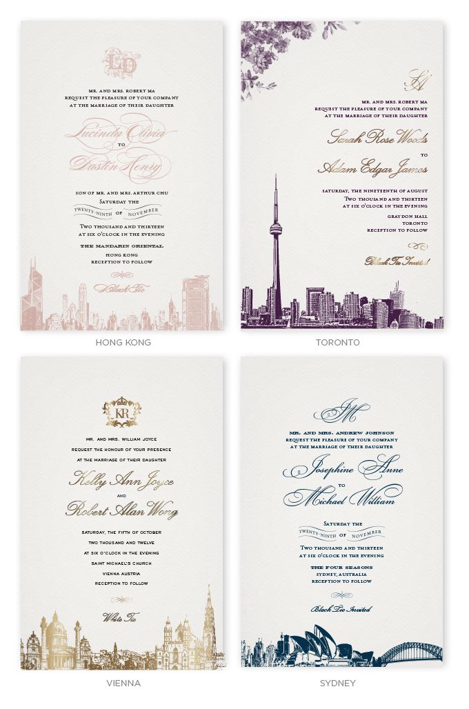 Wedding Invitations with skylines of Hong Kong, Toronto, Vienna and ...