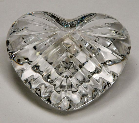 Waterford Crystal Heart paperweight or hand cooler, Made in Ireland, wedding gift, Valentines Day gift, Celtic Heart, glass heart,