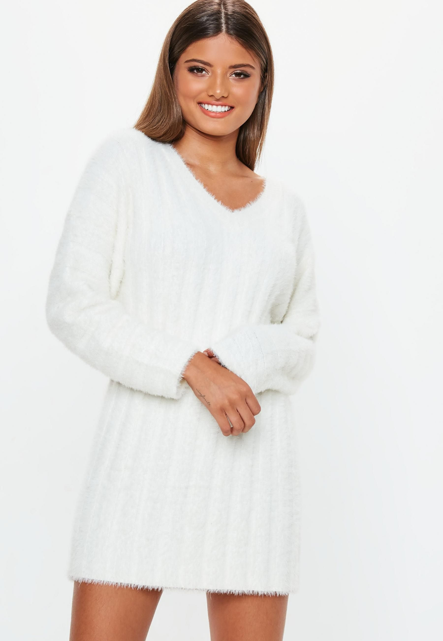 a6fa8bbbef8 Missguided - White Fluffy Ribbed Knitted Jumper Dress in 2019 ...