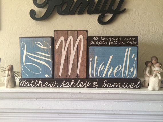 Custom personalized wooden family name blocks by ItsPersonalCrafts