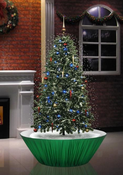 Snowing Christmas Tree Green Base 4 Feet 5 inches Tall | Snowing ...
