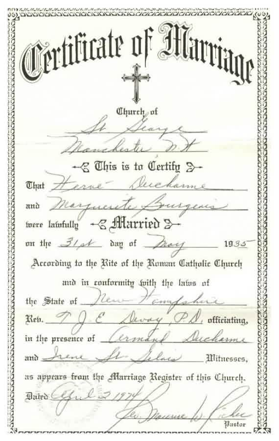 Transcription 2nd Marriage Certificate of Herve Ducharme and - marriage certificate