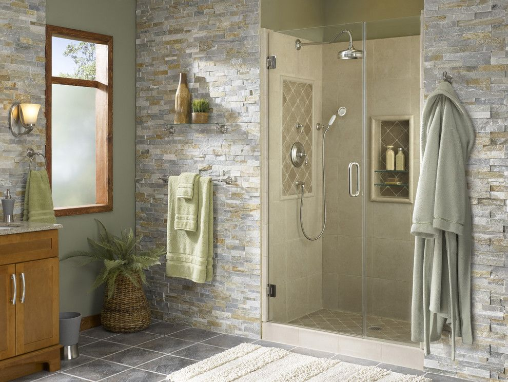 Shower Alcove With Natural Accents  Tropical  Bathroom  Other Extraordinary Lowes Bathroom Remodel Ideas Inspiration Design