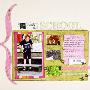 First Day of School Scrapbook Pages: Use Unexpected Color Combinations on Back-to-School Pages