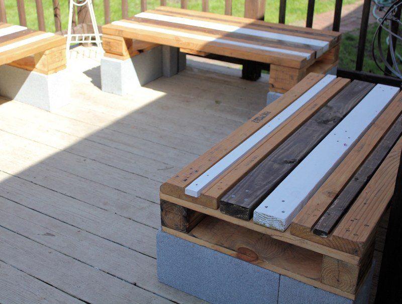 Faire un banc en palette de bois et le décorer soi-même- les top - construction terrasse en bois sur parpaing