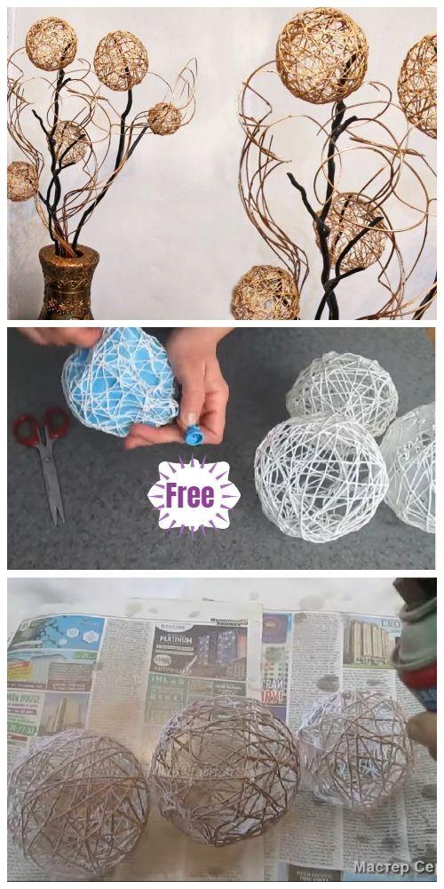 Thread Yarn Ball Home Decor DIY Tutorial - Video - #decor #thread #tutorial #video - #decorationdiy