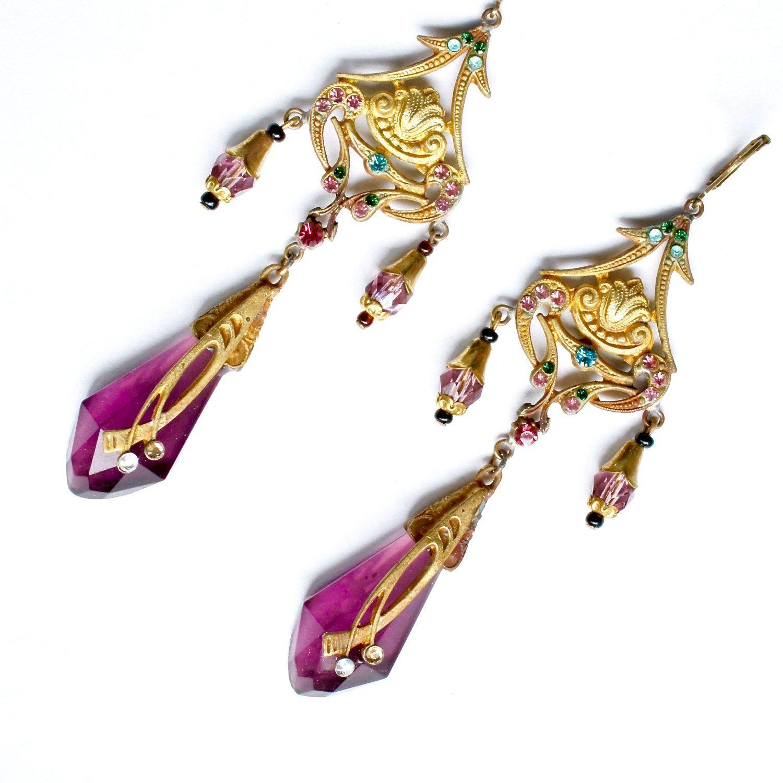 Czech glass earrings boho art nouveau purple amethyst bohemian