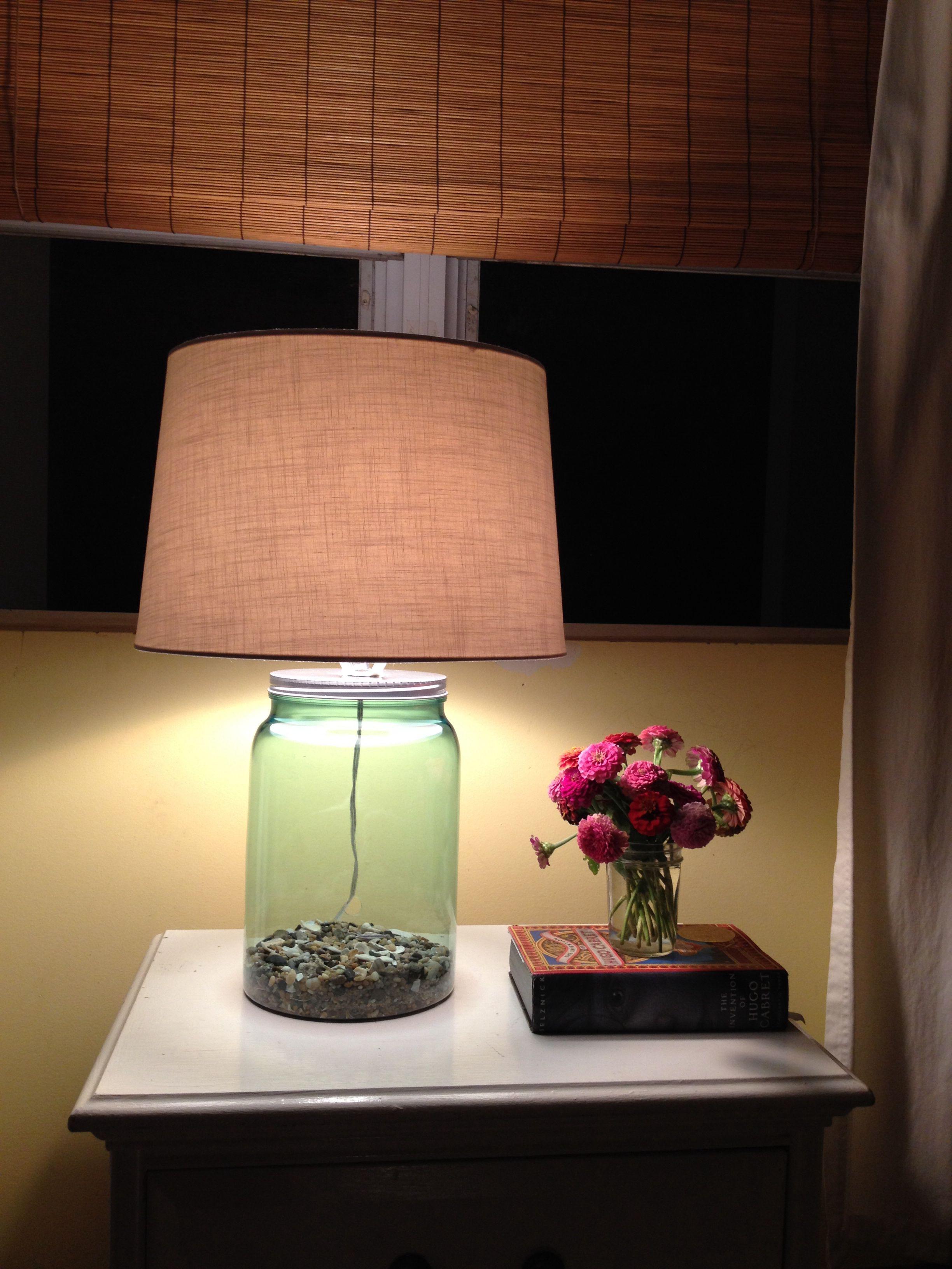 DIY clear blue lamp. Base is a clear blue kid friendly