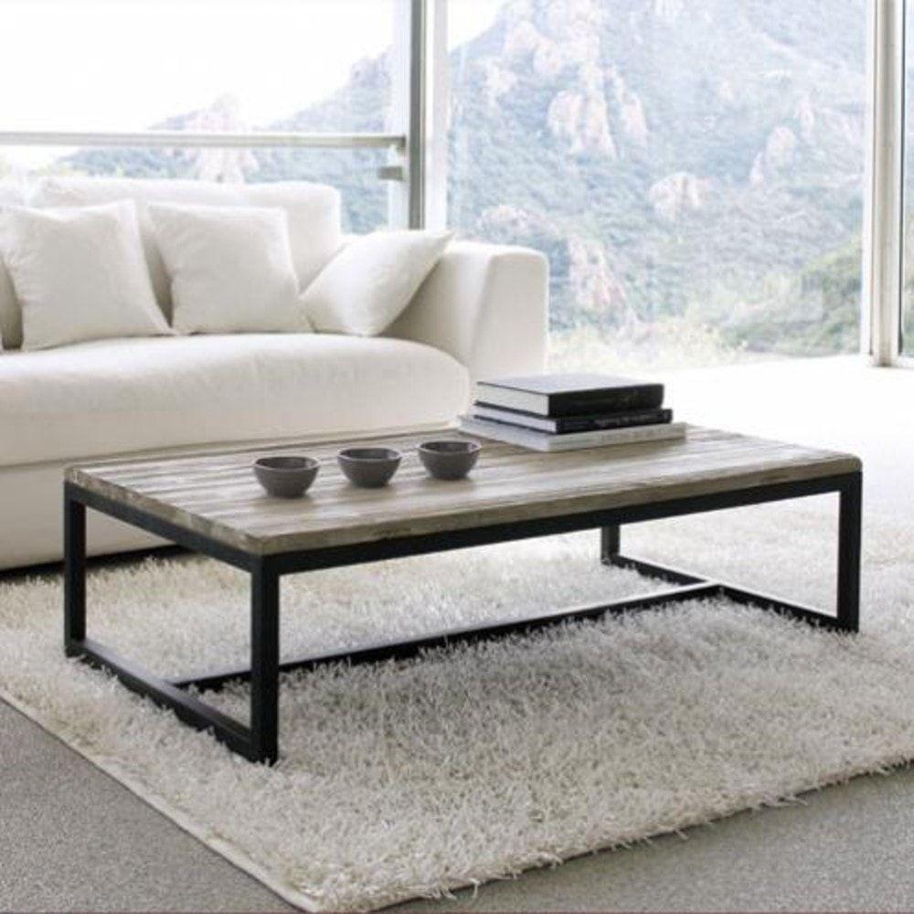 table basse indus en bois et m tal long island maisons du monde ambiance salon et objets. Black Bedroom Furniture Sets. Home Design Ideas