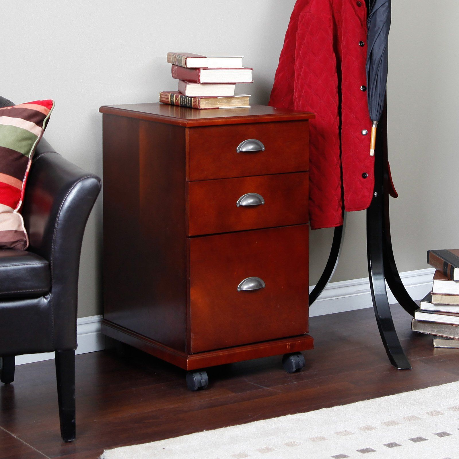 Have to have it. The 3 Drawer Mobile Filing Cabinet - Dark Cherry ...