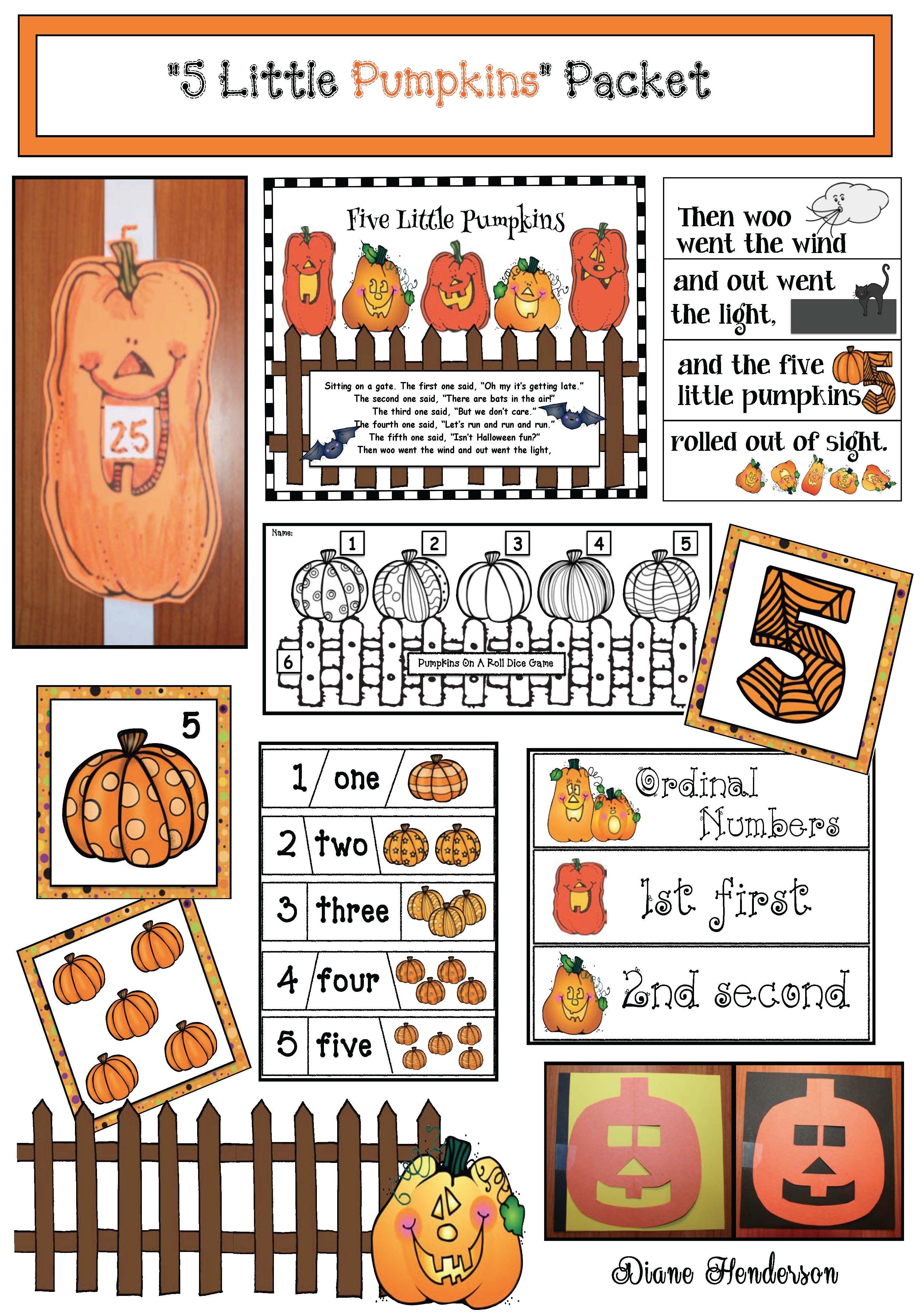 Pete The Cat S 5 Little Pumpkins Worksheet