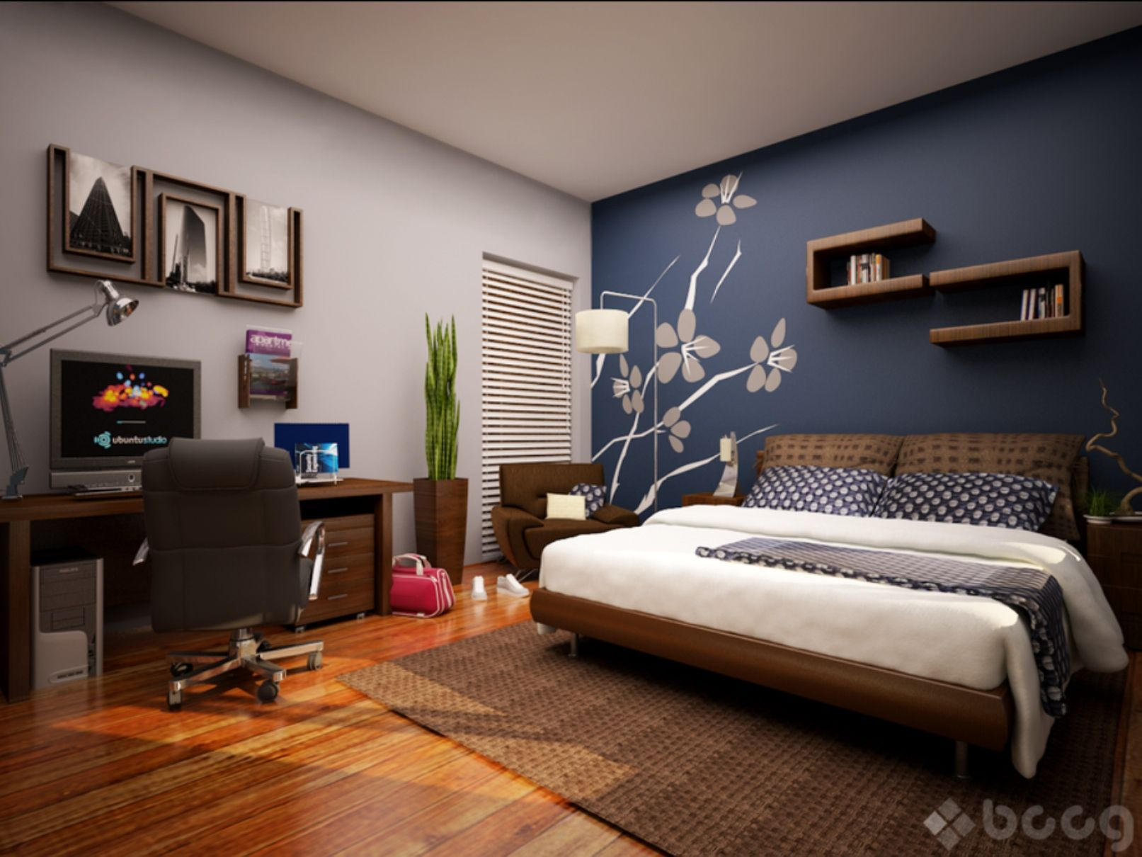 Accent wall paint ideas bedroom  Love the shade of blue with the accents  Decoración  Pinterest