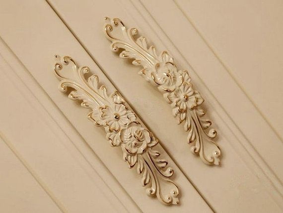 High End Fine Art French Country White Rose Cabinet Pulls By  LynnsGraceland, $10.00