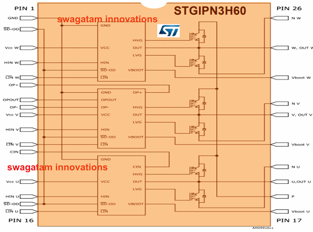 Compact 3-Phase IGBT Driver IC STGIPN3H60 - Datasheet, Pinout