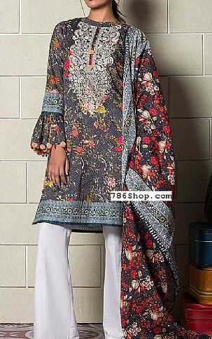 97f116571a Dark Grey Lawn Suit | Buy Khaadi Pakistani Dresses and Clothing online in  USA, UK