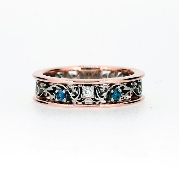 Teal And White Diamond Filigree Ring Rose Gold Unique Wedding