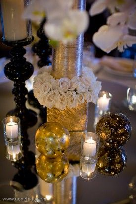 mirror gold and black centerpieces | Party ideas - bridal ...
