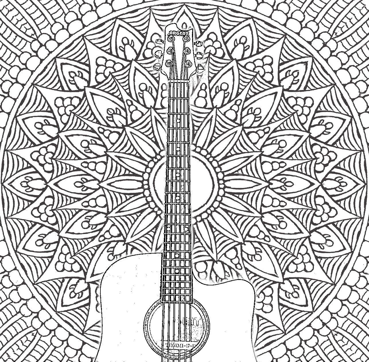 Adult Coloring Pages: Acoustic Guitar | For the classroom | Pinterest
