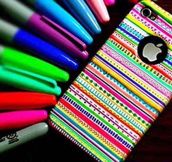 White phone case with sharpie decoration! Love love love