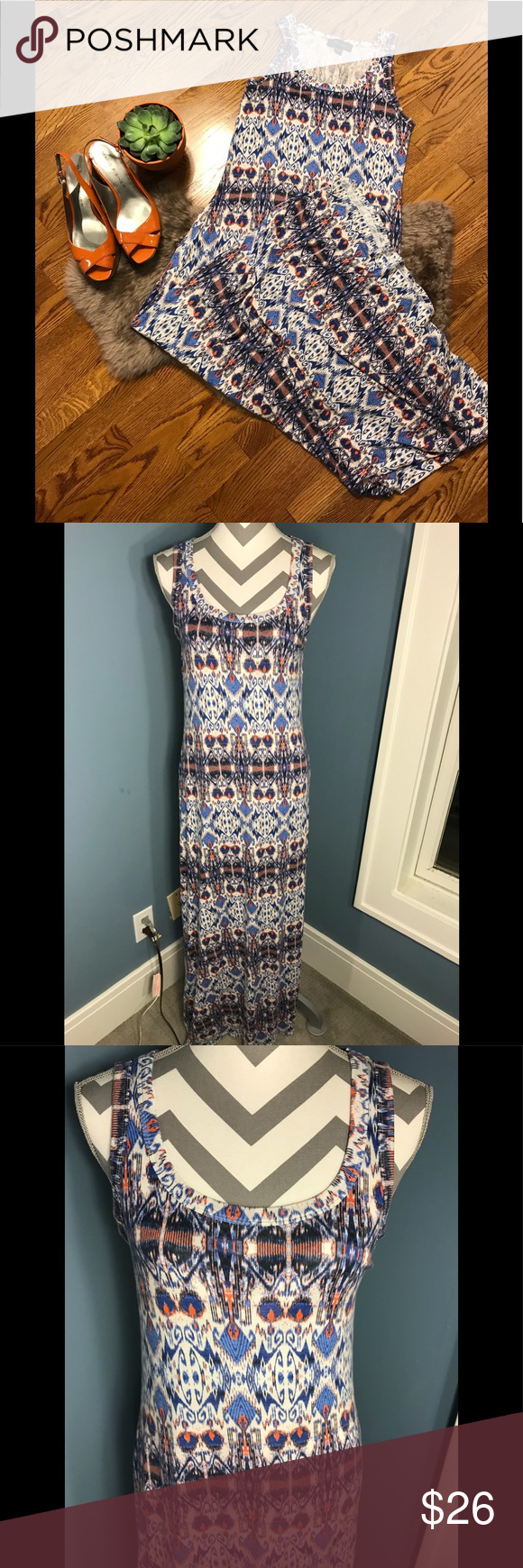 Karen Kane Ikat Print Maxi Dress Size L Printed Maxi Dress Clothes Design Karen Kane Dress [ 1740 x 580 Pixel ]