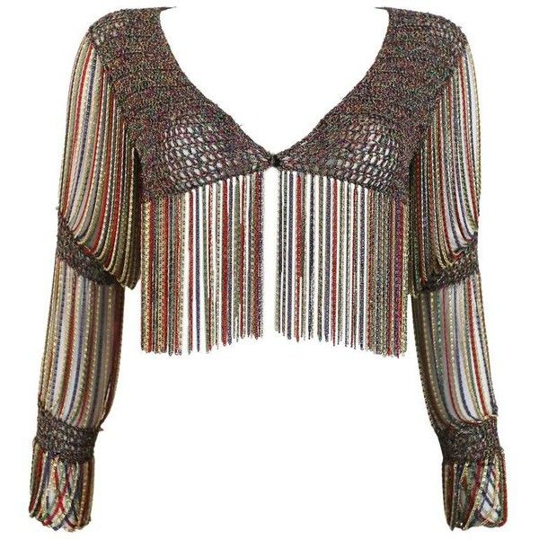 Preowned Loris Azzaro Knitted Cropped Cardigan With Chain Mail ...