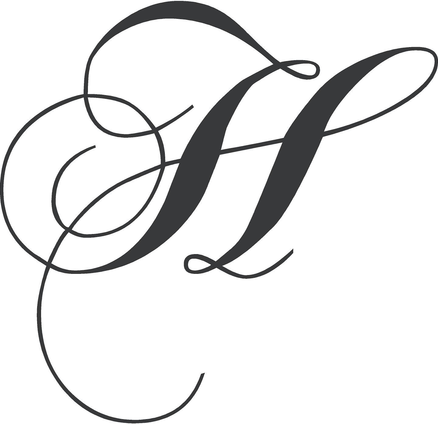 Chopin Monogram Wall Decal Cursive letters fancy, Letter