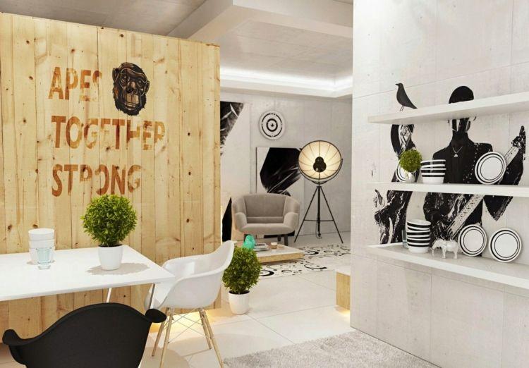 kreative wohnideen trennwand holz bretter esszimmer apartment