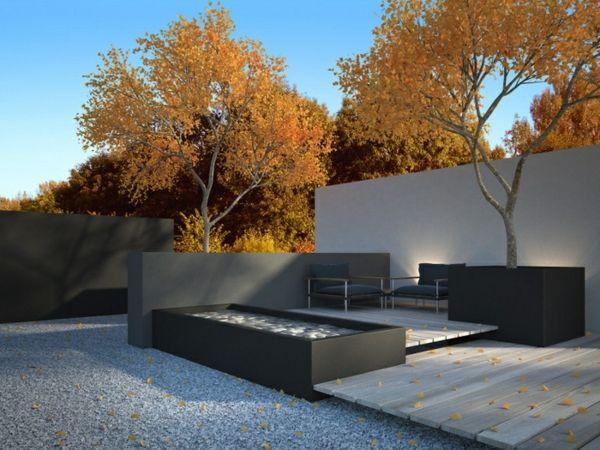 modernes gartendesign holz kies boden sichtschutz wasser merkmal, Garten Ideen