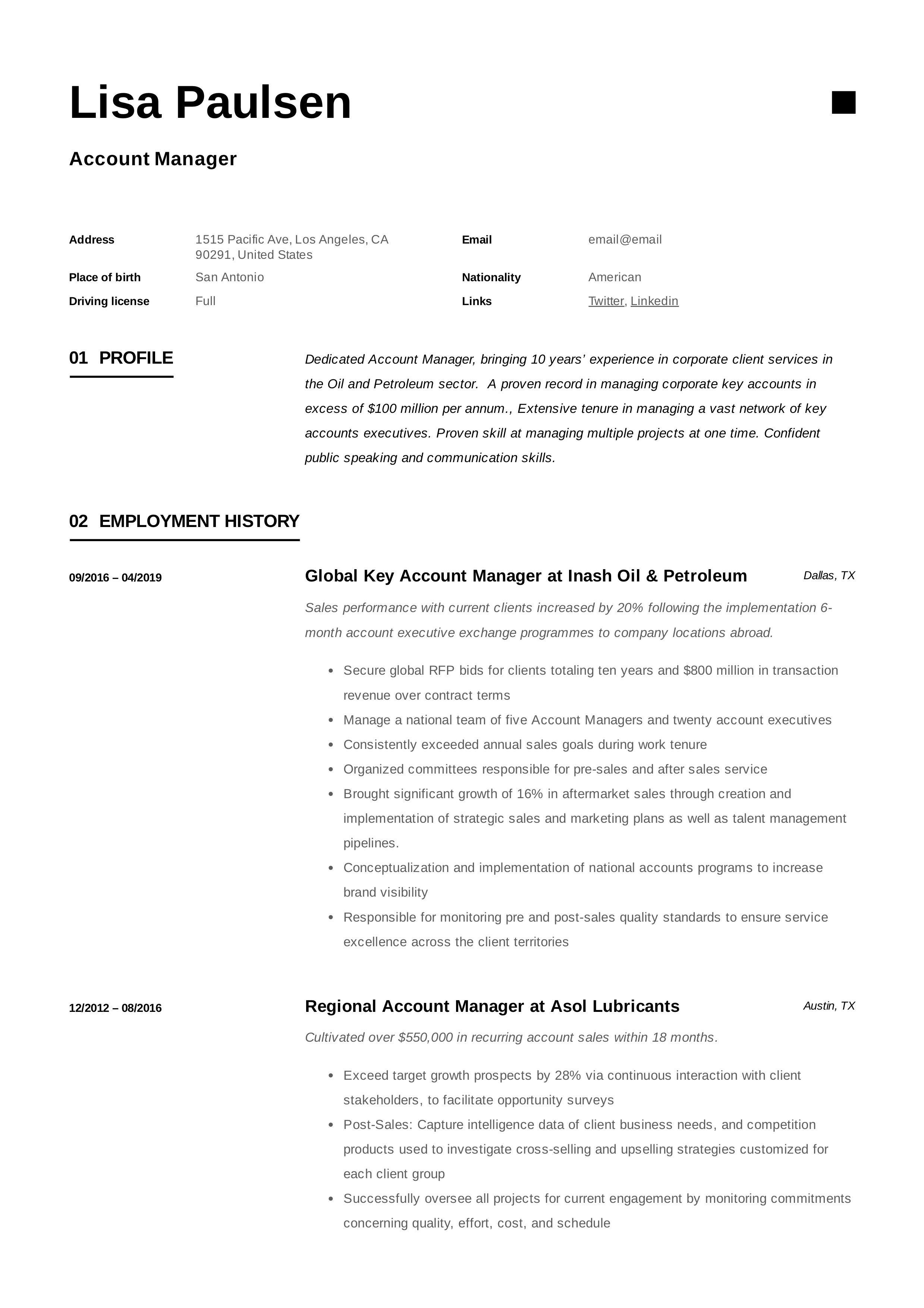 Resume Example English Pdf