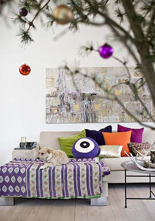 Colourful touches in a Danish living room