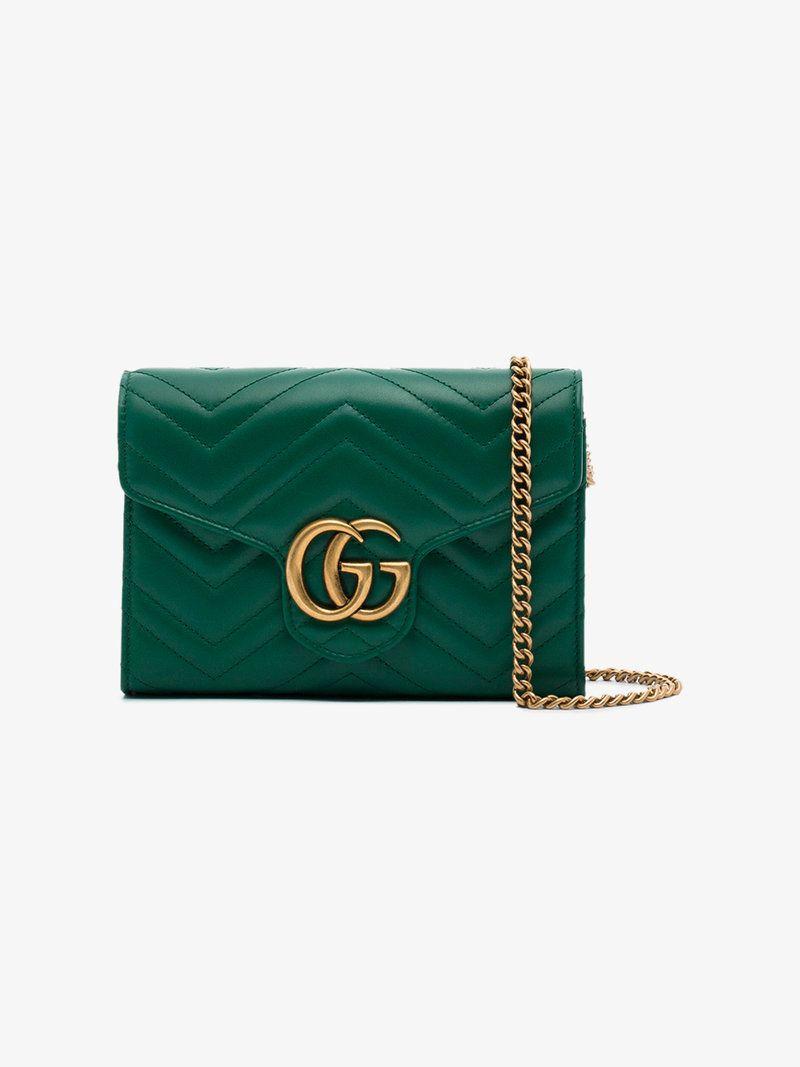 dac704c053d944 Gucci small green GG Marmont matelassé shoulder bag | Shopping list ...