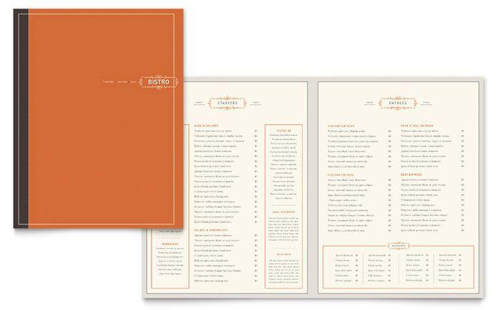 Bistro and Bar Menu Design Template by StockLayouts etiquetas - microsoft word restaurant menu template