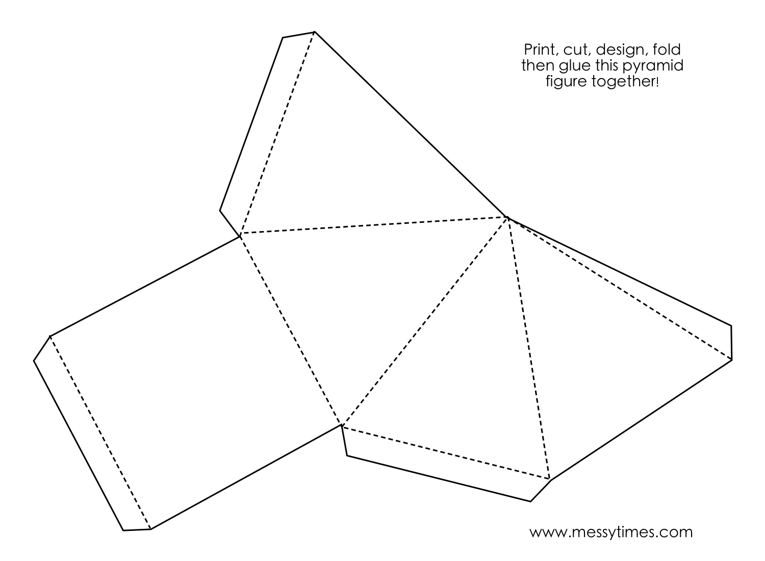 A 3D pyramid object to cut, design, fold and glue together. Geometry ...