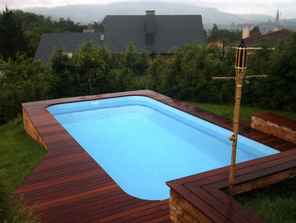 above ground fiberglass outdoor swimming pool design with wooden deck fiberglass outdoor swimming pool design - Above Ground Fiberglass Swimming Pools