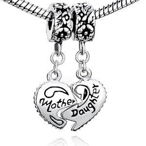 #3: Pugster Heart Mother  Daughter Beads Charm- Pandora Charms Bracelet Compatible.
