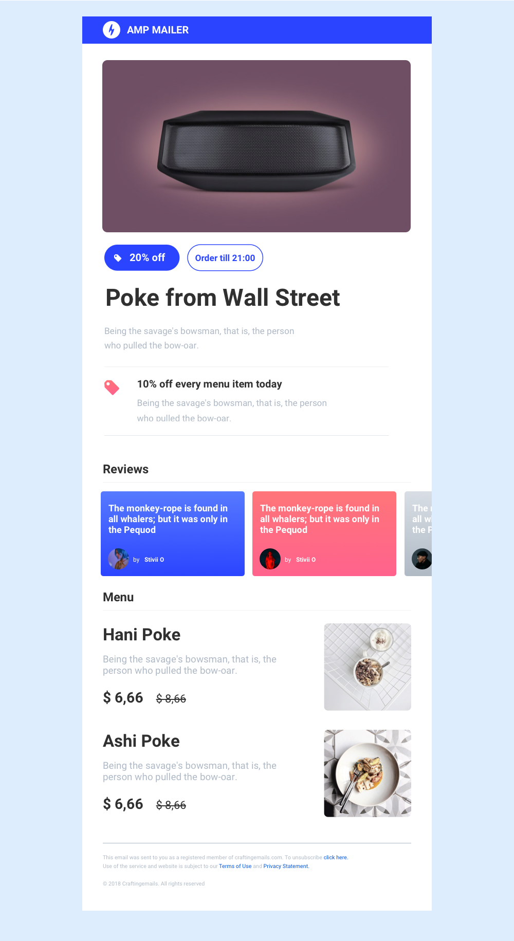 AMP Email template newsletter Free email templates