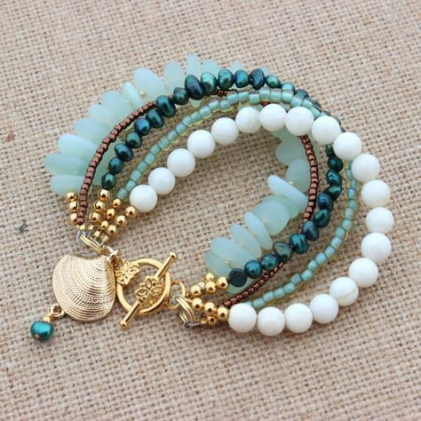 Photo of Mermaid Bracelet Sea Glass Bracelet Beach Womens with Shell Charm Beach Ocean Lover Jewelry Mother's Day Gift Present for Mom Sea Glass
