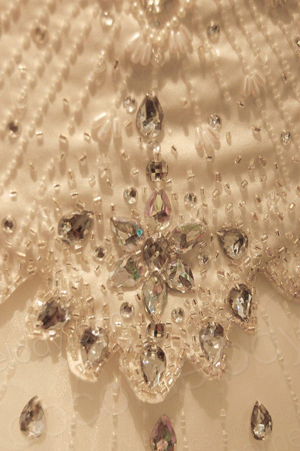 Gorgeous A-Line Spaghetti Strap Natural Chapel Train Organza Ivory Sleeveless Wedding Dress with Beading SW0009 #weddingdress #cocomelody