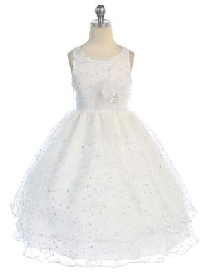 ac0a50a0fd White Embroidered Double Layer Organza Flower Girl Dress (Sizes 2-12 in 6  Colors
