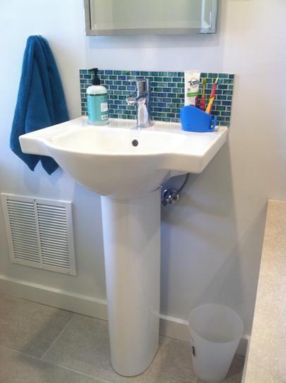 Pedestal Sink Perhaps With Tile Backsplash To Match Accent Tile